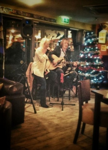 Phil on acoustic guitar with Jen Armstrong at VM lounge in Saltaire