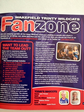 We were in the match day magazine